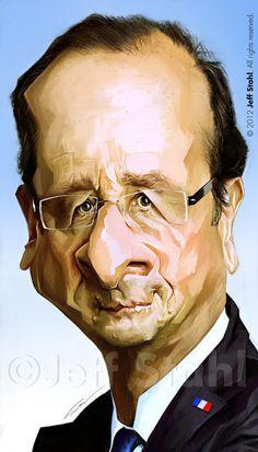 "CARICATURAS DE FAMOSOS: ""François Hollande"" por Jeff Stahl"