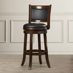 """Darby Home Co Orangeville 29"""" Swivel Bar Stool Finish: Cappuccino, Upholstery: Black"""