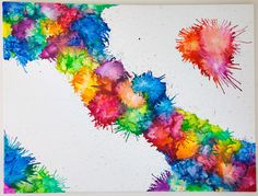 Very cool. Painting with crayons, blow dryer splatter painting. Great way to use old crayons. Interesting tutorial which shows some methods of working with this concept. I am going to try this out, I have a huge box of old crayons that I didn't know what to do with.
