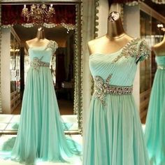 A Line One shoulder Mint green prom dress Pretty Dresses, Sexy Dresses, Beautiful Dresses, Glam Dresses, Amazing Dresses, Beautiful Bags, High Low Prom Dresses, Prom Dresses Long With Sleeves, Prom Dress With Train