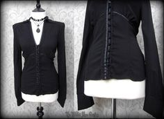 Elegant Gothic Black Ribbon Lace Trimmed Blouse 8 Vintage Victorian Goth | THE WILTED ROSE GARDEN