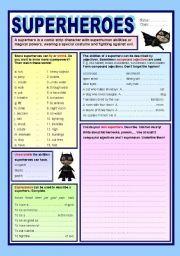 English teaching worksheets: Superheroes