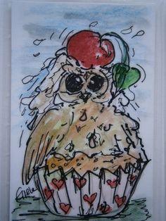 Süße Eule im cupcake Taschenkunst,Kreativchaoten  von kunstpause auf DaWanda.com