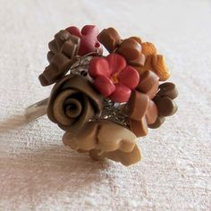 Autumn Flower Ring Polymer Clay by beadscraftz on Etsy.