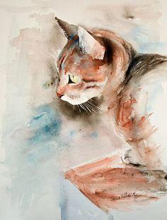 Aquarelle chat - Peinture originale, Aquarelle originale, chat  Original Le chat pensif peint par Martine Jacquel Saint Ellier  Cest mon chat
