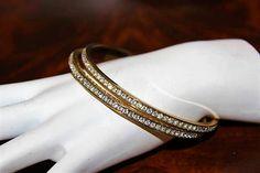 Vintage Exquisite Dazzling High End Designer Chanel Art Deco Rev Rhinestone Pave Bangle Bracelet Brb4