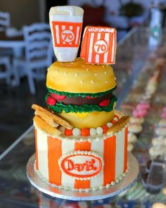 Are you a true Texan if you don't have a whataburger themed birthday atleast once? Beach Wedding Cake Toppers, Wedding Cakes, Lighthouse Cake, What A Burger, Surf Cake, Seashell Cake, Pool Cake, Best Cake Ever, Nautical Cake