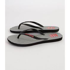 Billabong Striped Flip ($20) ❤ liked on Polyvore featuring shoes, sandals, flip flops, black, flip-flop sandals, black flip flops, stripe shoes, flip shoes and black sandals