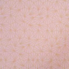 Tissu coton origami rose et doré