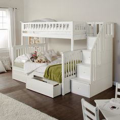 Step-up the style and fun in your child's bedroom with the Columbia Twin over Full Stairway Bunk Bed.