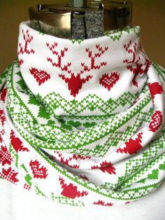 Fair Isle  jersey knit infinity scarf- red reindeer, green, hearts, white scarf, circle scarf, free shipping #etsy  #design