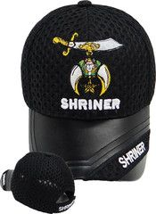 Shriner Hat Black Baseball Cap with Logo Associated with Freemasons Shriners Prince Hall Masons Lodge Headwear