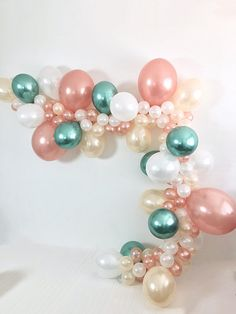 Balloon Garland Balloon Garland Kit Chrome Green Rose Gold White Peach Balloons Rose Gold Emerald Bridal Shower Emerald Wedding Bachelorette