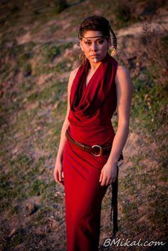 Trinity Maxi Dress Cowl Neck Hood Dress Sexy Open by ZhenNymph