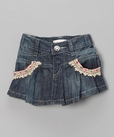 Take a look at this Stonewash Flower Pleated Skirt - Infant, Toddler & Girls on zulily today!