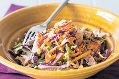 Day-after-a-roast salad recipe, Bite – This is the quick and easy dish we will be having for dinner tonight, made regularly following a roast because it makes good use of leftover meat — beef, lamb, pork, chicken — they all work well or just add a whole heap of toasted nuts and seeds for a vegetarian option. – foodhub.co.nz