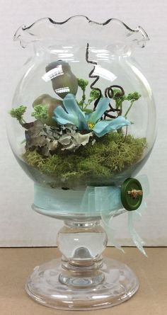 Small Terrarium Sample I Made For A C Moore Used E6000 Glue To Attach Ivy Bowl