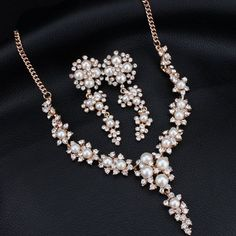 MANWIIBridal jewelry set wholesale high - quality imitation pearl wedding accessories high - end necklace earrings jewelryAD1917