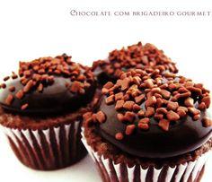 Minicupcakes de chocolate com brigadeiro gourmet | www.sweetboutique.com.br