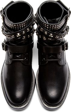 Saint Laurent Black Rangers Ankle Boots and other apparel, accessories and trends. Browse and shop related looks. Studded Ankle Boots, Black Lace Up Boots, Short Black Boots, Leather Lace Up Boots, Black Ankle Booties, Lace Up Ankle Boots, High Heel Boots, Bootie Boots, Shoe Boots