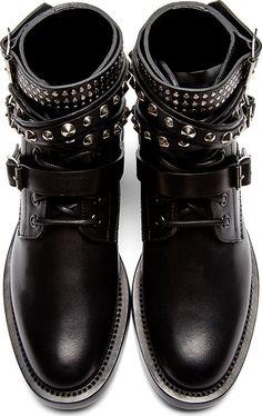 Saint Laurent: Black Rangers Ankle Boots   SSENSE