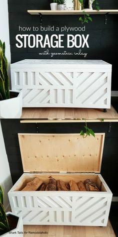 Easy Plywood Storage Box with Geometric Inlay – Diy Furniture Ideas Diy Furniture Projects, Diy Wood Projects, Furniture Storage, Diy Storage Bench, Woodworking Furniture, Woodworking Ideas, Diy Projects For Bedroom, Blanket Storage, Woodworking Quotes