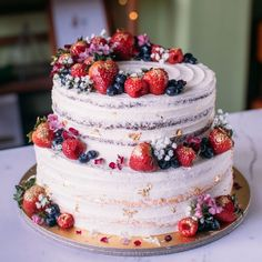 wedding cakes nakedcake Two-Tier Rustic Floral Berry Cake - Cus. wedding cakes nakedcake Two-Tier Rustic Floral Berry Cake – Custom Bakes by Edit Bolo Nacked, Nake Cake, Wedding Cake Rustic, Berry Wedding Cake, Rustic Cake, Wedding Cakes With Fruit, Rustic Birthday Cake, Red Velvet Wedding Cake, Cake Wedding