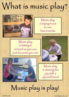 """""""Music play is play!"""" Explores the nature of play, how it relates to children learning music and gives ideas for creating a music play-friendly environment. Learning Music, Play Based Learning, Learning Through Play, Music Education, Childhood Education, Early Learning, Kids Learning, Early Childhood Activities, Learning Spaces"""