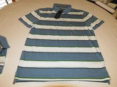 Mens Tommy Hilfiger Polo shirt XL Striped 7871392 BF Blue 422 Custom Fit NEW #TommyHilfiger #polo