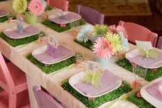 Love the plastic grass mats (probably cut a large one in half) - make a great placemat and statement