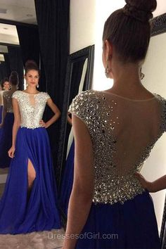 Royal Blue Prom Dresses, Chiffon Prom Dress, Sexy Evening Gowns, Sparkly Party Dresses, Sweep Train Formal Dresses