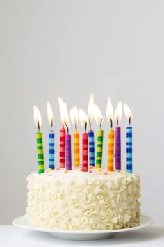 Birthday cake with colorful candles by Ruth Black - Birthday cake, Cake - Stocksy United Colorful Birthday Cake, Happy Birthday Cake Images, Birthday Wishes Cake, Birthday Cake With Photo, Happy Birthday Celebration, Birthday Cake With Candles, Happy Birthday Messages, Birthday Fun, Birthday Greetings