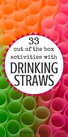 Collection of 33 very simple and easy activities with drinking straws for toddlers and preschoolers, including math, crafts, fine motor practice and more.