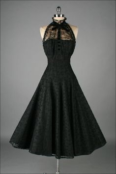 Vintage 1950s Paul Sachs Black Tuxedo Lace Cocktail Dress image 2