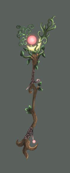 Druid Staff by NeonaItsumi on DeviantArt Anime Weapons, Fantasy Weapons, My Fantasy World, Fantasy Art, Druid Tattoo, Staff Magic, Dnd Druid, Wizard Staff, Magical Tree