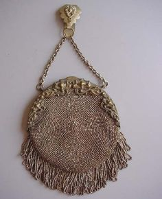 PURSE Art Nouveau frame circa 1900 steel cut bead round purse with fringe as is