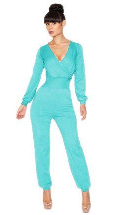 Fab!!! Blue Long Sleeve V Neck Jumpsuits