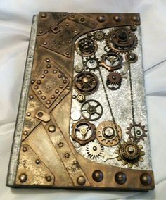 Altered Steampunk journal diary sketchbook by PeriwinkleAlley---cool idea for Guestbook www.MadamPaloozaEmporium.com www.facebook.com/MadamPalooza