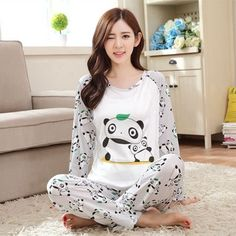 3c56c2f2d9 LIKEPINK 2017 Women Pajamas Sets Fashion O-Neck Long Sleeve Pyjamas  Microfiber Homewear Sleepwear Panda Pijamas Mujer Bathrobe