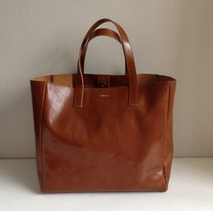 Brown Leather Tote Meyme bag Brown Leather Bag Shopping by MISOUI, $321.25 Poland