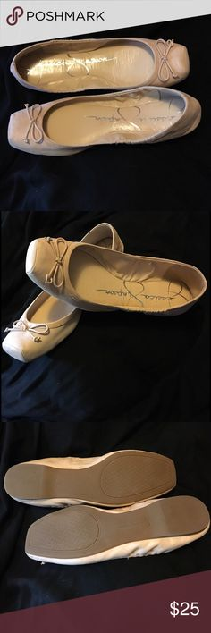 Jessica Simpson Marline Flats in Nude 10M Jessica Simpson Marline nude leather square toe ballet flats; rich soft leather upper with elasticized collar, cushioned leather insole and treaded rubber soles. Worn just once. Jessica Simpson Shoes Flats & Loafers