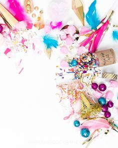 Product Styling, Prop Styling and Photography by Shay Cochrane www.shaycochrane.com   party, party styled stock, desktop, beautiful workspace, styled stock photography, business, pink and gold, blue