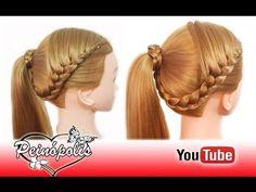 Peinados Faciles y Rapidos y Bonitos para Pelo Chino con Coletas con Trenzas - YouTube