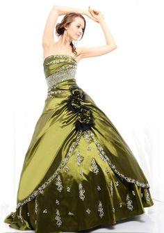 Ball Gown Strapless Floor-length in Taffeta Quinceanera Dress