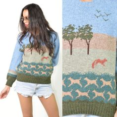 VTG 70s Wool Red Fox Scenery Hunting Crew Neck Boyfriend Sweater #Sweaters