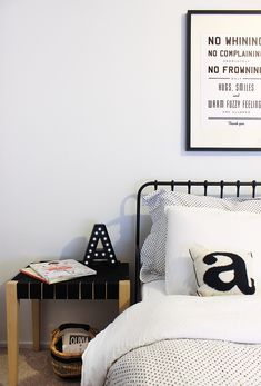 A marquee letter is the perfect nightlight. It's functional and kid-approved. Match it with an embroidered pillow, like @Copycatchic, for a space you'll both love. http://www.copycatchic.com/2015/07/a-mini-kids-room-update-with-target.html