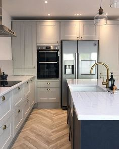 Navy and grey kitchen Howdens kitchen Lusso stone tap Herringbone tile – grey Grey Kitchen Designs, Kitchen Room Design, Modern Kitchen Design, Home Decor Kitchen, Interior Design Kitchen, Best Kitchen Layout, Kitchen Layouts, Kitchen Ideas, Open Plan Kitchen Dining Living