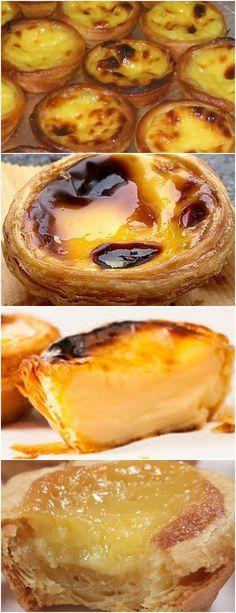 RECEITA DE PASTEL DE BELÉM, FÁCIL E FICA D+ DE GOSTOSO!! VEJA AQUI>>>>Sobre o mármore, faça um monte de farinha Faça um buraco no meio e coloque uma gema e água o suficiente para obter uma massa maleável #receita#bolo#torta#doce#sobremesa#aniversario#pudim#mousse#pave#Cheesecake#chocolate#confeitaria I Love Food, Good Food, Yummy Food, Delicious Desserts, Dessert Recipes, Portuguese Recipes, Bite Size, Bakery, Food And Drink