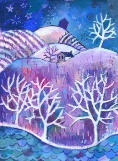 Painting For Kids, Art For Kids, Winter Art Projects, Christmas Drawing, Art Lessons Elementary, Christmas Illustration, Pastel Art, Landscape Art, Winter Landscape