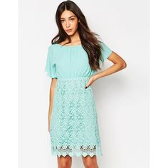 Traffic People Carry On Crochet Backless Dress (67 PAB) ❤ liked on Polyvore featuring dresses, mint, macrame dress, tall dresses, white dress, crochet dress and scalloped dress